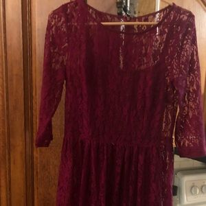 Dresses & Skirts - Sheer Burgundy Lace Dress with slip